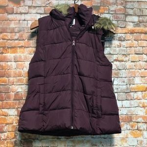 Women's Vest Size Large Vegan Fur Trim Hood BONGO
